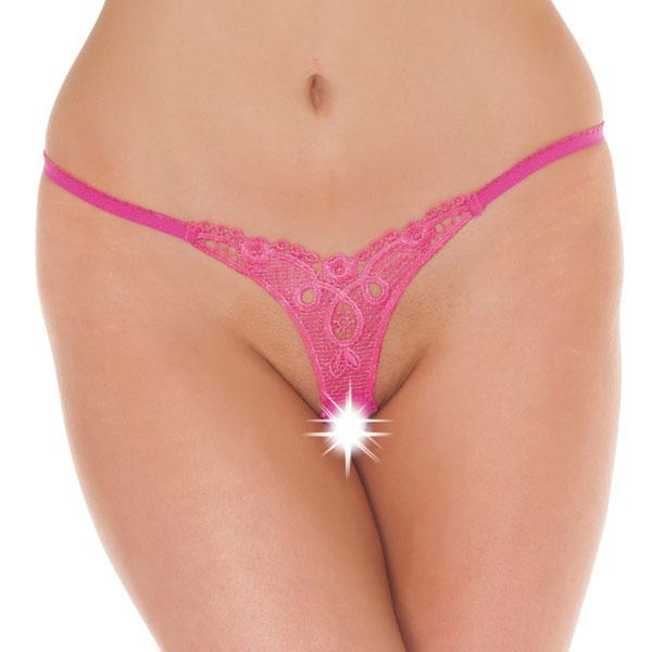Detailed Crotchless GString Pink
